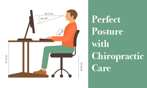Illustration of man with correct posture in a chair