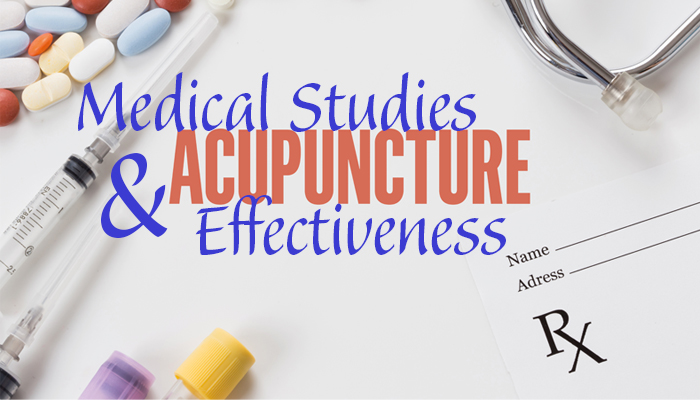 This image is the title image that displays title with medical tools. Medical studies & Acupuncture Effectiveness