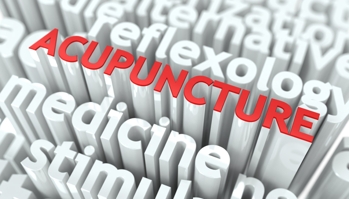 Decorative image comprised of type with acupuncture highlighted