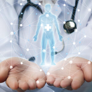 conceptual image for integrative image of a doctor holding an image of an opaque man in his hands